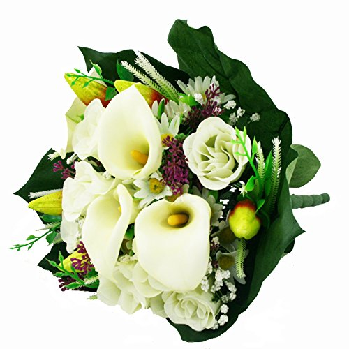 FloristryWarehouse Artificial silk mixed flower bouquet Calla Lillies Roses 16 inches - Mixed Silk Flower