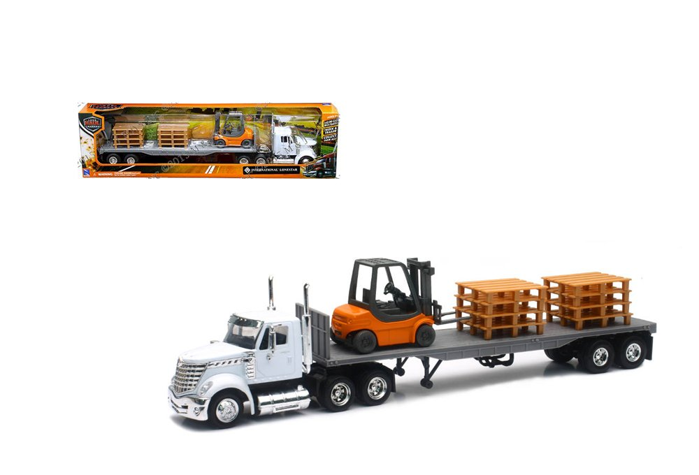 Newray Truck and Trailer Collection White Long Haul Trucker International Lonestar Flatbed with Forklift and Pallets 1 43 Scale Model