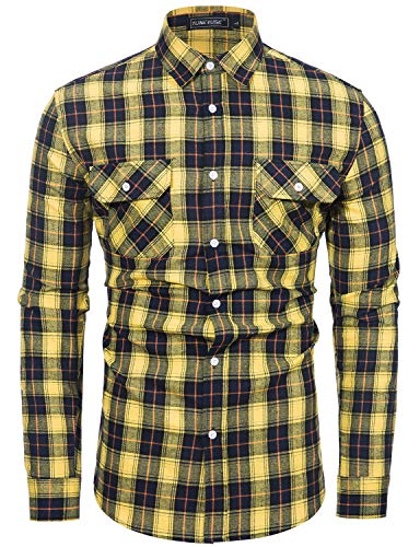 TUNEVUSE Mens Button Down Plaid Flannel Shirt Regular Fit Long Sleeve Buffalo Plaid Shirt Camp Hanging Out or Work Yellow Flannel Shirt X-Large