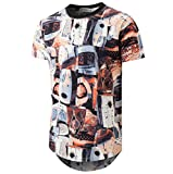 KLIEGOU Mens Hipster Hip Hop Ripped Round Hemline Camouflage T Shirt (05MC) (X-Large, Black + Blue)