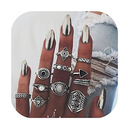 ZEALMER Vintage Knuckle Ring Set Women Statement leaves Arrow Moon Turquoise Joint Knuckle Rings -