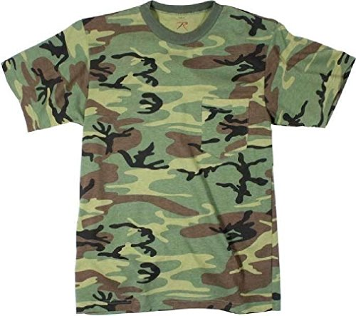 (Woodland Camouflage Military T-Shirt with Pocket)