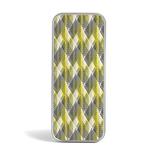 Tin Box,Yellow and White,Gift,Jewelery and Storage Tin Kit,Home Organizer,Geometric Pattern with Stripes Triangles Abstract Shapes 80s Style ()