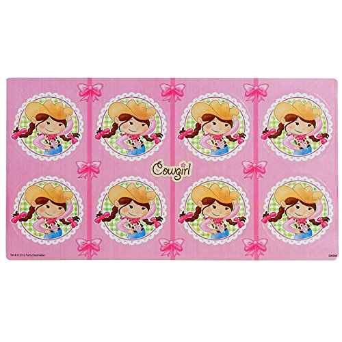Pink Cowgirl Party Supplies - Large Lollipop Sticker Sheet (Pink Cowgirl Sticker Sheets)