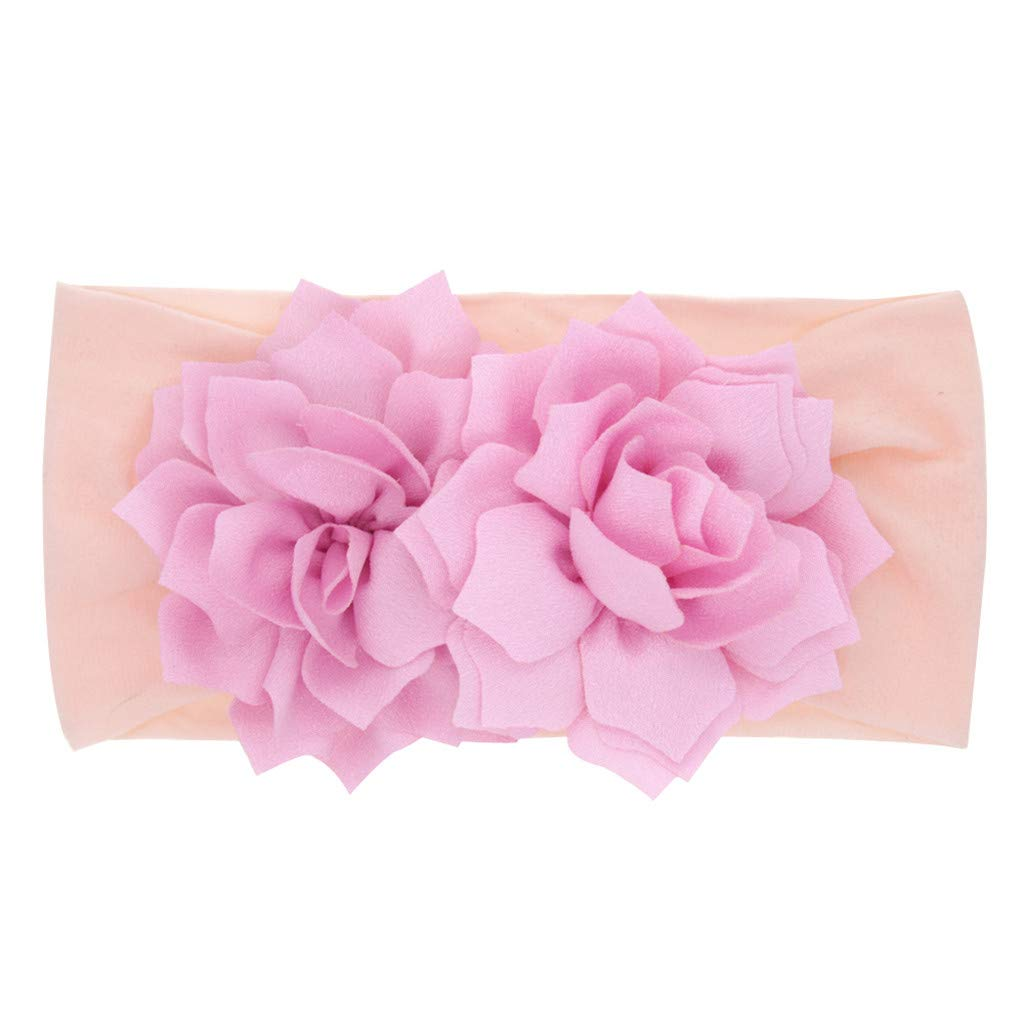 FDSD Women Maternity Clothes Kids Baby Girls Hair Accessories Newborn Infant Baby Hair Bow Flowers Cute Elastics Headbands (Pink)