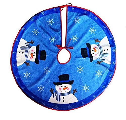 (EBTOYS Christmas Tree Skirt Christmas Snowman Plush Skirt Christmas Decorations-Blue,31inch)