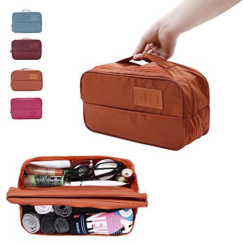 IFUNLE Multi Functional Travel Organizer Storage Bag, Closet Pouch Bag,organized Underwear/bra /Panties /socks (Orange)