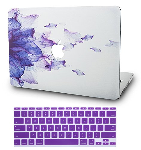 "KEC Laptop Case for MacBook Air 11""  w/ Keyboard Cover Plastic Hard Shell Case A1465/A1370 2 in 1 Bundle (Purple Flower)"