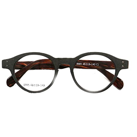 5298360d0c Retro Round Full-Rim Classy Professor Style Prescription Eyeglass Frames ( Black Brown)  Amazon.ca  Clothing   Accessories