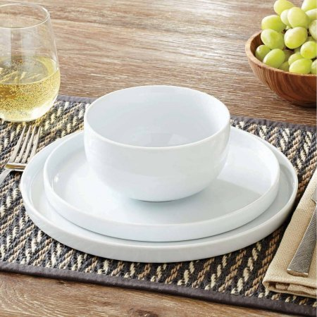 Modern Rim 12-Piece Dinnerware Set, White