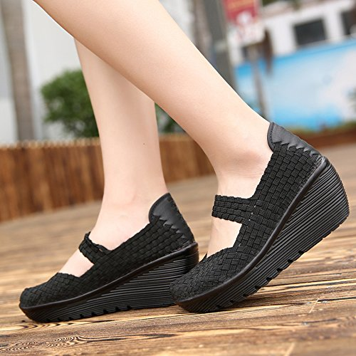 4a3d01769cc2 EnllerviiD SDF889-1heise39 Women Wedge Mary Jane Sandals Closed Toe Weave  Platform Heel Sandals Shoes