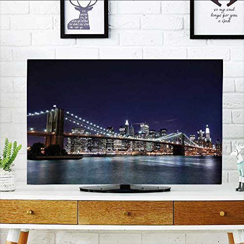 Philiphome Cover for Wall Mount tv Brooklyn Bridge and Manhattan Skyline at Night New York City Cover Mount tv W36 x H60 INCH/TV 65