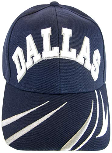 BVE Sports Novelties Dallas Men's Script & Stripes Adjustable Baseball Cap (Navy) -