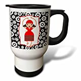 3dRose tm_160630_1'' Flamenco Dancer Girl Cartoon, Flamenco is a Kind of Folk Spanish Music and Dance Travel Mug, 14 oz, Multicolor