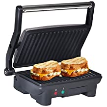 Elite EPN-2976 Cuisine Panini 180 Degree Indoor Contact Grill, Black
