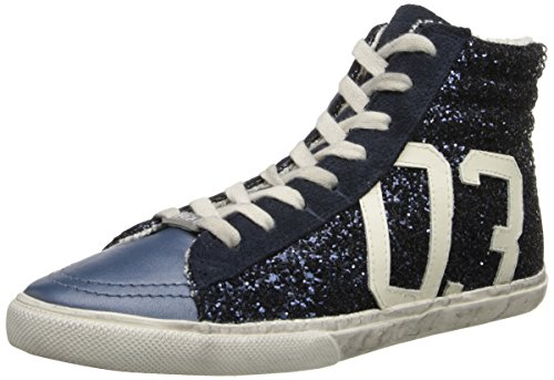 Kim & Zozi Womens Glitter Hi Fashion Sneaker Blu Scuro