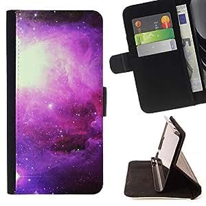 For HTC One M8 Case , Universo Estrellas Nebulosas Cosmos púrpura- la tarjeta de Crédito Slots PU Funda de cuero Monedero caso cubierta de piel