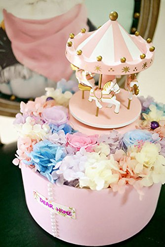 Price comparison product image Carousel Happy Birthday Cake Bunting Topper Cake Topper Garland,  Birthday Party Cake Decorations Plastic Merry-Go-Round Horse Christmas Birthday Gift Carousel Music Box,  (Pink)
