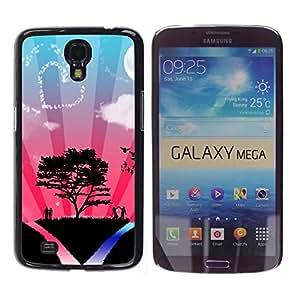 Caucho caso de Shell duro de la cubierta de accesorios de protección BY RAYDREAMMM - Samsung Galaxy Mega 6.3 I9200 SGH-i527 - Tree Love Couple Heart Sky Nature Romance