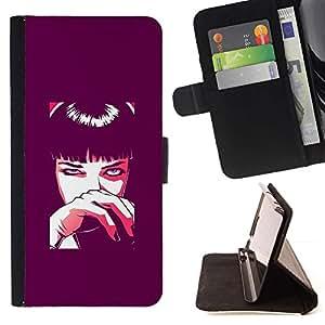 For LG G3 Case , Mujer de dibujos animados Anime Arte Ojos Negro- la tarjeta de Crédito Slots PU Funda de cuero Monedero caso cubierta de piel