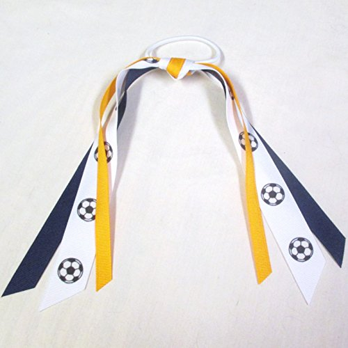Soccer Ribbon Scrunchie - Made in the USA, Many colors available, Navy/Gold