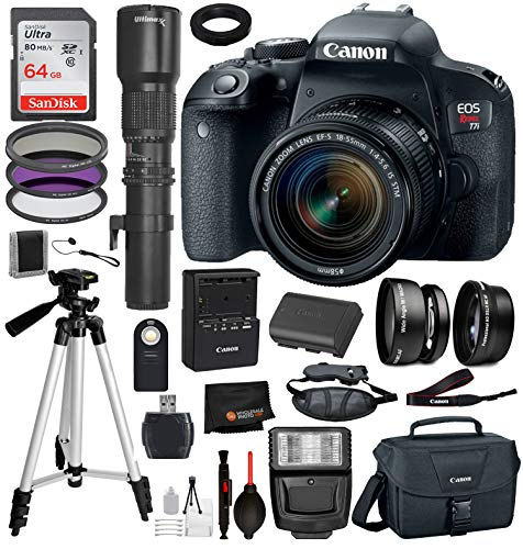 Canon EOS Rebel T7i DSLR Camera with 18-55mm Lens 18PC Professional Bundle Package Deal -SanDisk 64gb SD Card + 500mm Preset f/8 Telephoto Lens + Canon Shoulder Bag + More