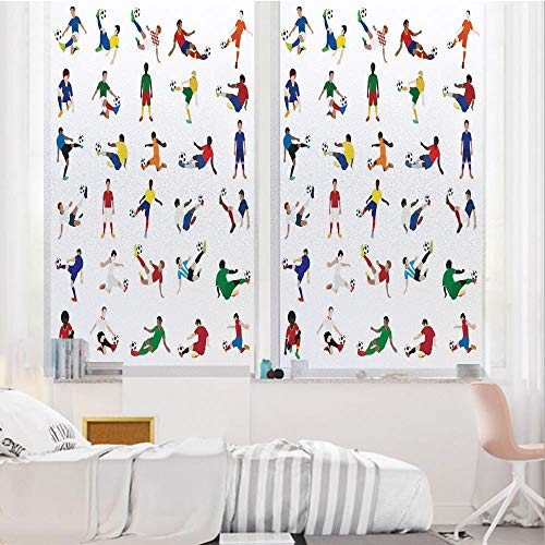 - Sports Decor 3D No Glue Static Decorative Privacy Window Films, Collection of Soccer Players League Pastime Practicing Different Poses,17.7
