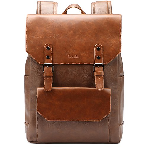 ZEBELLA Faux Leather Backpack Purse Bookbag Laptop Bag Casual Daypack for Women and Men-Brown