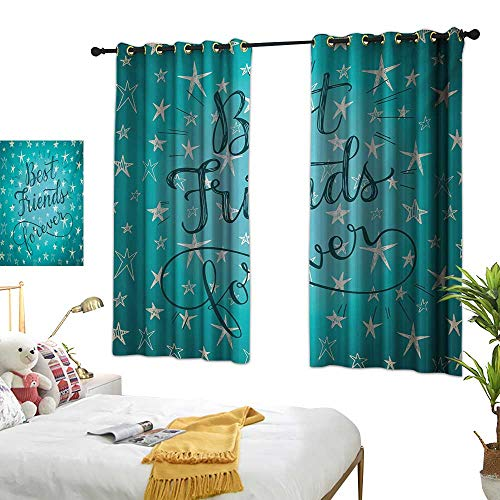 RuppertTextile Blackout Curtains Best Friends Forever Message on Scribbled and Hatched Stars 55