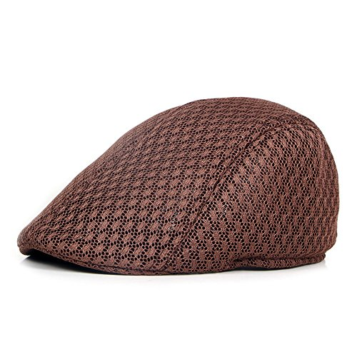 YING LAN Men's Classic Flat IVY Diamond Pattern Beret Golf duckbill Cabbie newsboy Flat Scally Cap Hat Brown