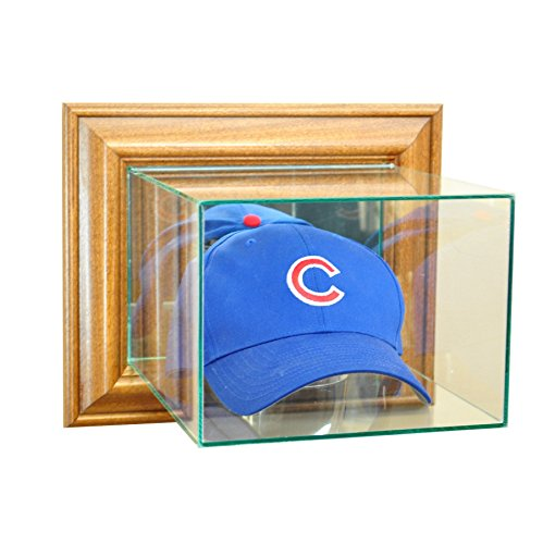 Perfect Cases MLB Wall Mounted Cap/Hat Glass Display Case, Walnut -