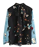 M&S&W Womens Fashion Stitching Long Sleeve Printing Long Sleeve Blouse Photo Color XXS