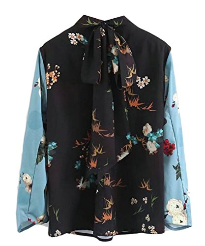 M&S&W Womens Fashion Stitching Long Sleeve Printing Long Sleeve Blouse Photo Color XXS by M&S&W