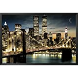 FRAMED Manhattan Lights New York City Skyline 36x24 Art Poster Print Brooklyn Bridge World Trade Center Twin Towers