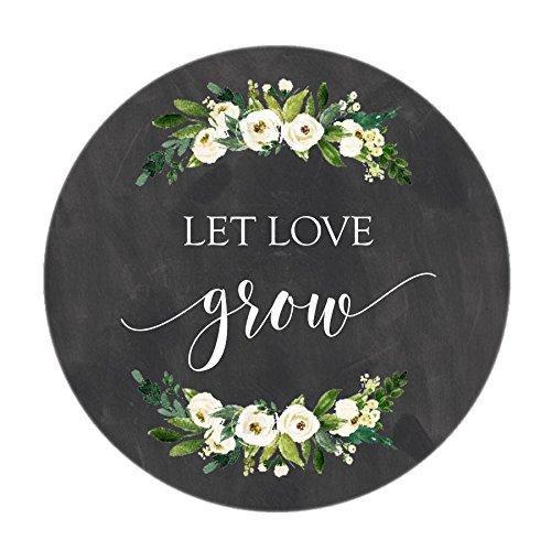 (Chalkboard Let Love Grow Stickers, White Watercolor Flowers, Let Love Grow Favor Stickers, Labels, Seed Favors, Love Grow, Favor Stickers, Favor Tags, Garden Wedding Favor)