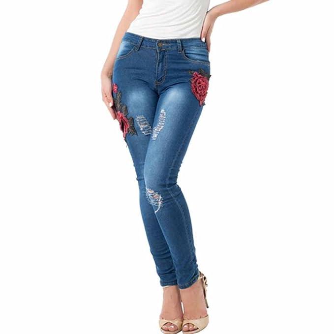 ESAILQ Mujer Otoño Delgado Pantalones Bordados pequeños pies Pantalones Vaqueros elásticos