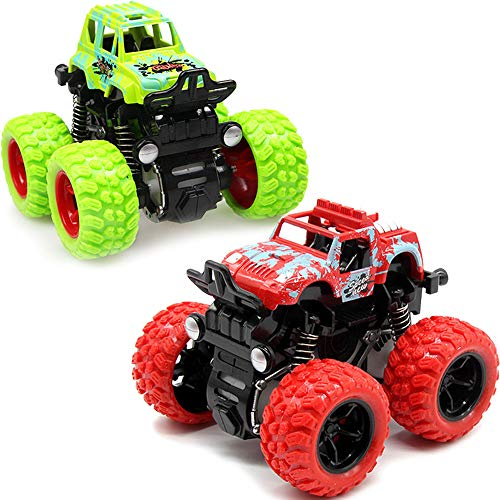 (LANKEE Monster Trucks for Kids,Big Tire Trucks,4WD,360 Degree Rotation,Friction Powered Cars,Inertia Car Toys for Boys Girls Push and Go Cars,Red Green)