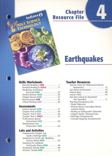 Read Online Indiana Holt Science & Technology Chapter 4 Resource File: Earthquakes PDF