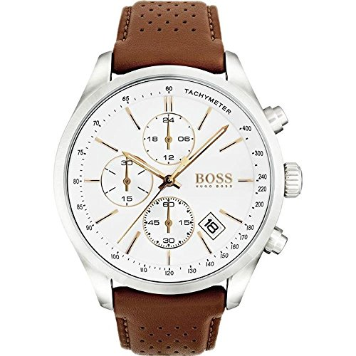 (Hugo Boss Men's 46mm Brown Leather Band Steel Case Quartz White Dial Analog Watch 1513475)