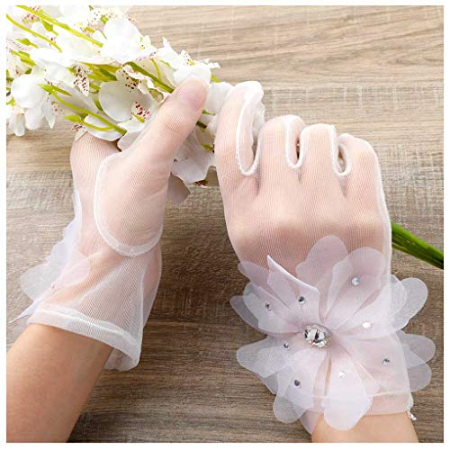 Olbye Women's Wedding Gloves Short Tulle Organza Gloves Floral Vintage Ivory Wrist Gloves for Bride Prom Ceremony (Style-1)