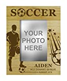 Personalized Soccer Football Theme Engraved Wood Picture Frame With Name - 5 x 7 Inches Vertical Customizable Gift