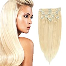 20 inch NATURAL BLONDE(Col 613), Full Head Clip in Human Hair Extensions, High quality Remy Hair, Silky Straight clip hair Brazilian virgin Hair extensions. (12pcs/set, weighs 95g with 20 clips, 2pcs free)