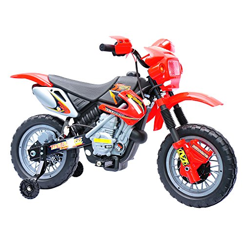 Aosom 6V Kids Ride On Electric Motocross Dirt Bike - Red