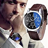 Mens Roman Numerals Blue Ray Glass Watches Men Luxury Leather Analog Quartz Business Wrist Watch Men's Clock Relogio
