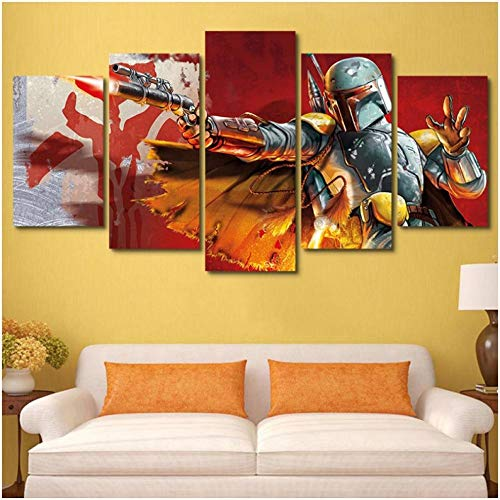 Junewind Canvas Painting 5 Piece Star Wars Warrior Boba Fett Modern Home Wall Decor Canvas Picture Art Hd Print Painting On Canvas for Living Room-SIZE3
