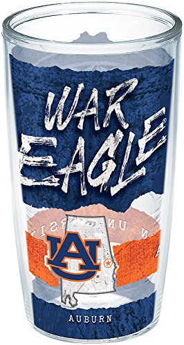 Tervis 1251127 Auburn Tigers College Statement Insulated Tumbler with Wrap, 16oz, Clear