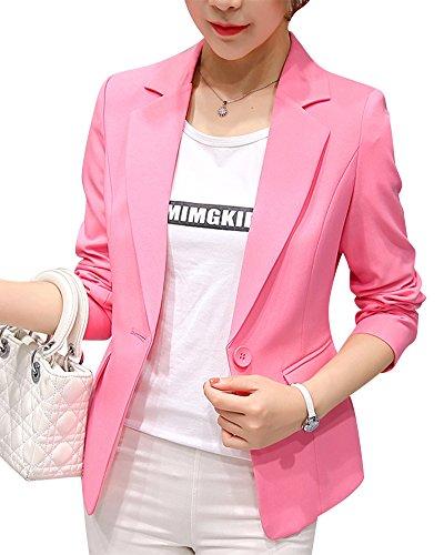 Pink Un Solo Chaqueta Botón Mujer Abrigo Traje De Manga Con Negocios Larga Blazer Awz7qw
