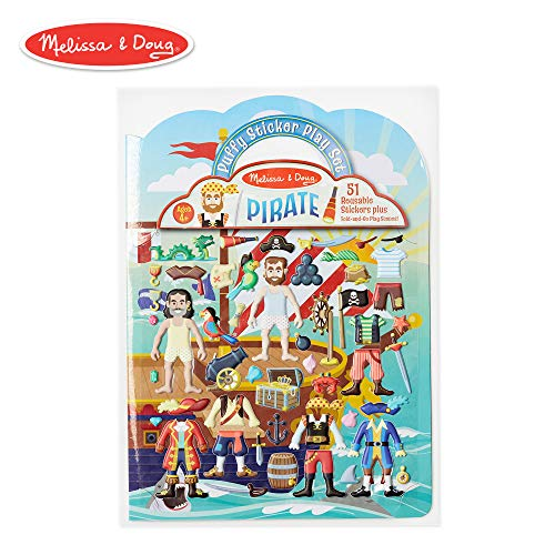 Melissa & Doug Puffy Sticker Play Set, Pirate (Reusable Activity Book, 51 Stickers, Great for Travel) ()
