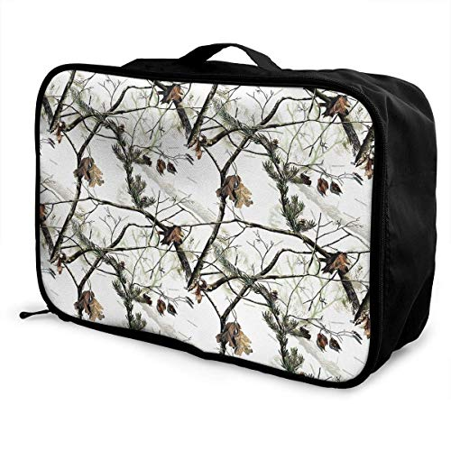 Portable Luggage Duffel Bag White Realtree Camo Travel Bags Carry-on In Trolley Handle