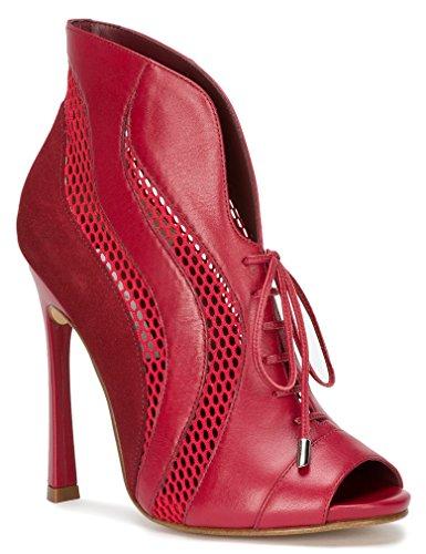 Rode Mesh Leather & Suede Bootie Stiletto Geïmporteerd